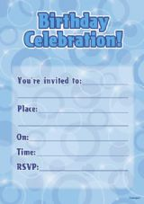 Blue Glitz Birthday Invitations